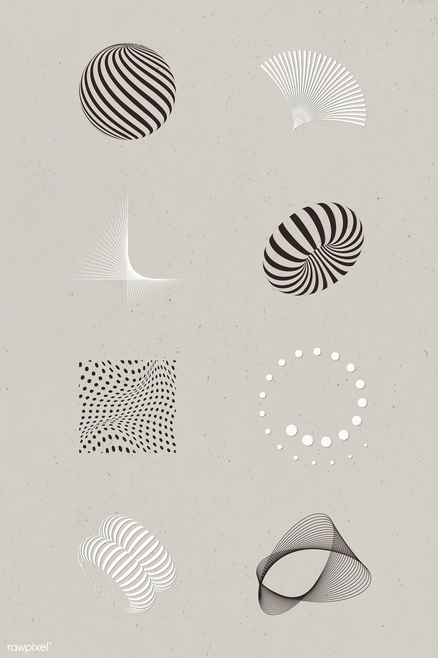 Abstract 3D design elements collection vector premium