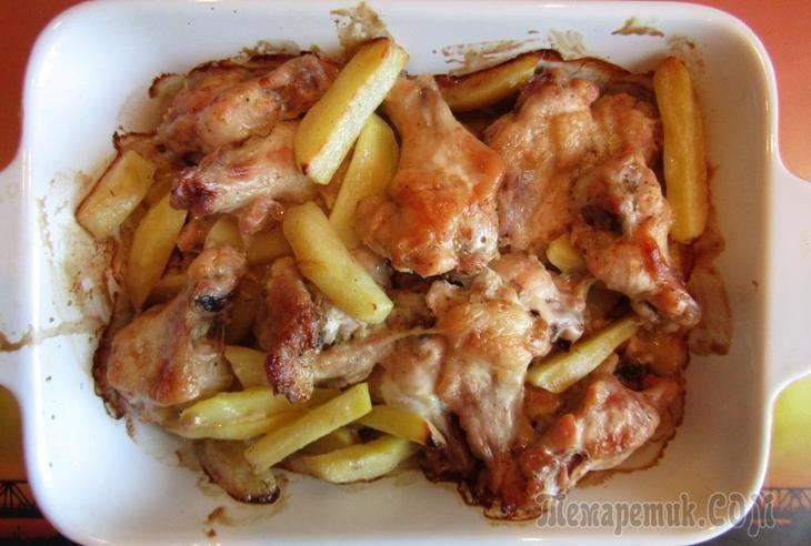 Куриные крылья с картошкой в духовке | Рецепты ...