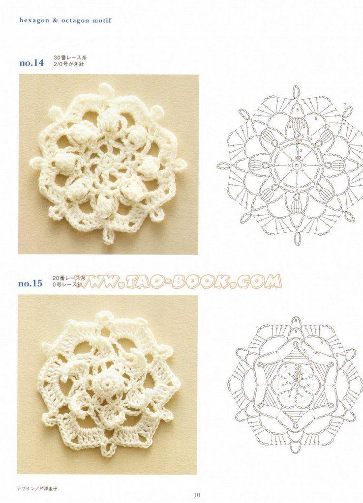 Solo esquemas y diseños de crochet: motivos cuadrados | knit and ...