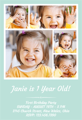 1st Birthday Photo Collage Printable Invitation Template Customize Add Text And Photos Prin Birthday Photo Collage 1st Birthday Photos Birthday Invitations
