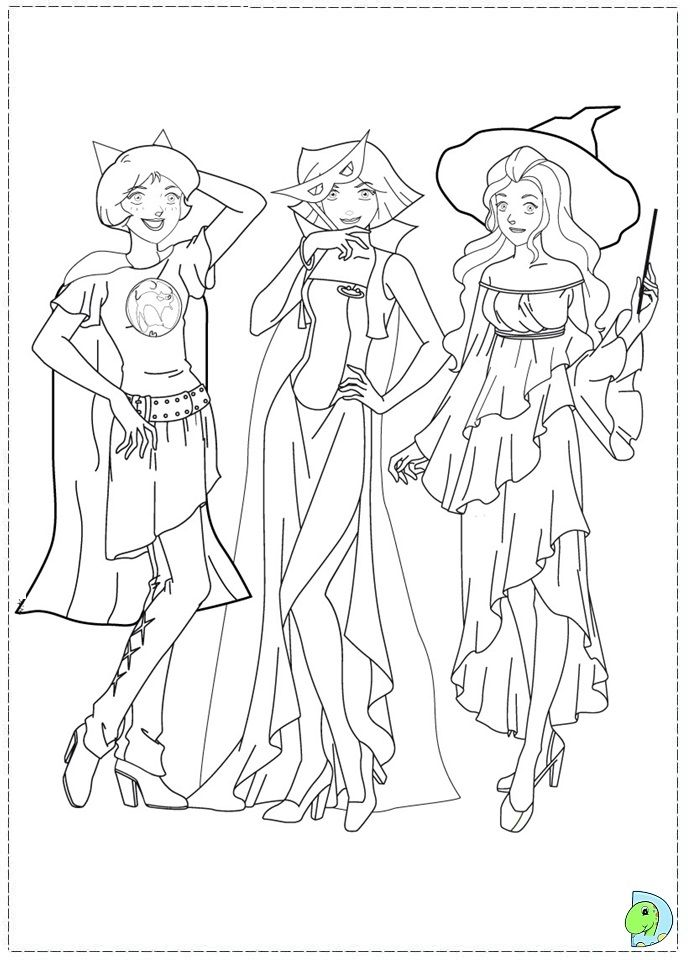 Totally Spies Coloring Pages Coloring Pages Cartoon Coloring Pages Halloween Coloring Pages