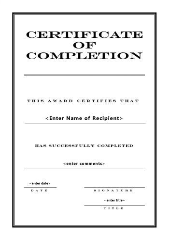 Certificate Of Completion   A Portrait  Engraved