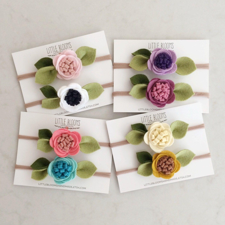 Felt Flower Headband nylon headband by LittleBloomsHandmade #feltflowerheadbands