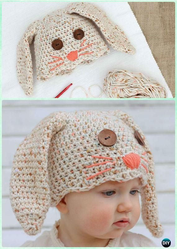 DIY Crochet Bunny Baby Hat Free Pattern Instruction-Crochet Beanie ...