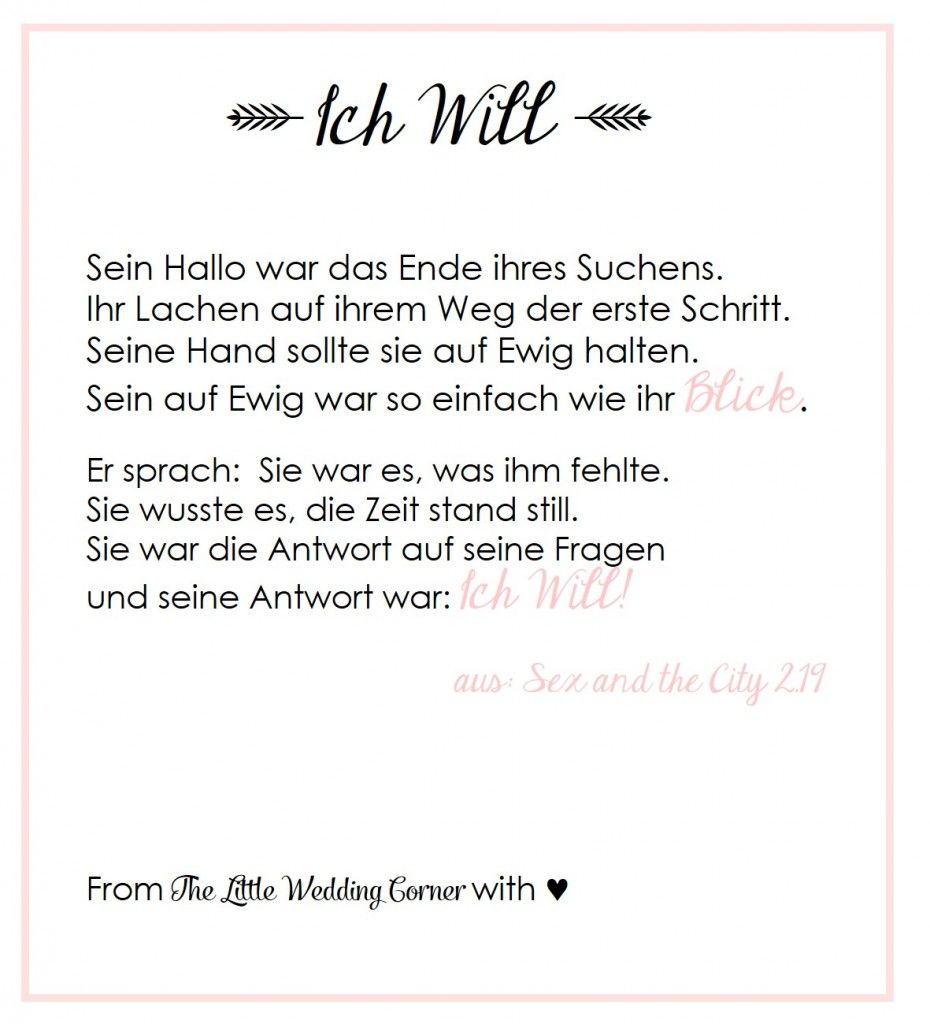 Gedicht Zur Hochzeit I Do Von Carrie Aus Sex And The City