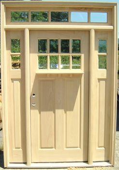 8 Lite Craftsman Style Door With Sidelights, Dentil Shelf U0026 5 Lite  Rectangular Transom