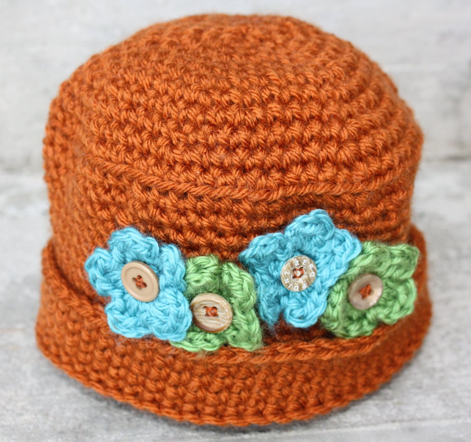 Child hat, crochet kids hat, rust with green and blue flowers for ...