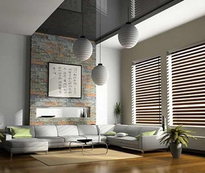 Interior Design Modern Living Room In Large Size With Horizontal Venetian Wooden Blinds Ideas