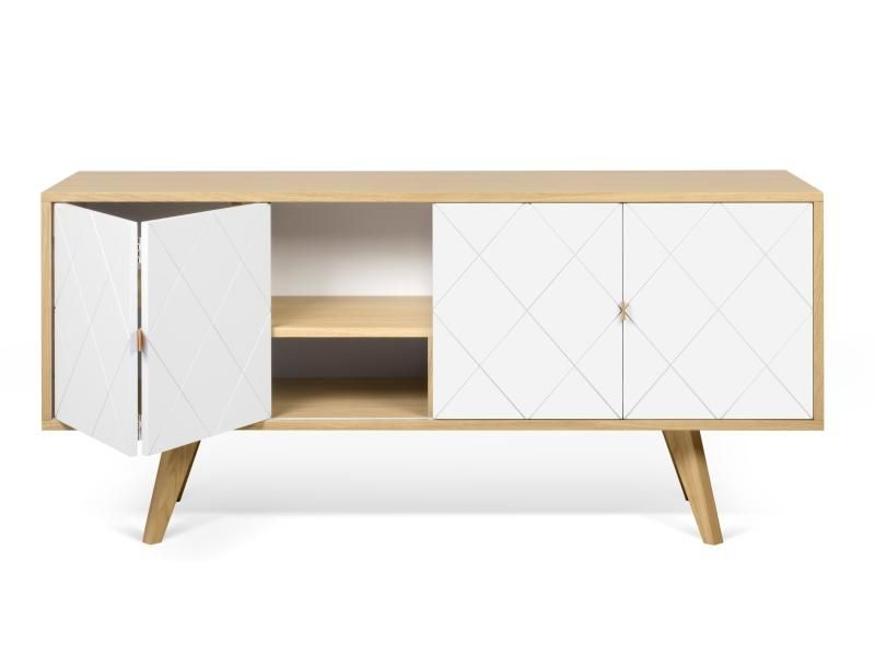 Contemporary Brigitte Sideboard In Oak And White With Retro Oak