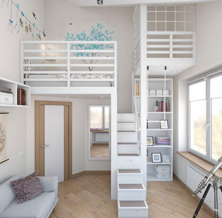 moderne Kinderzimmer Hochbett Lagerung Canape grau #Baby #Kinder #Schlafzimmer #modernekinderzimmer