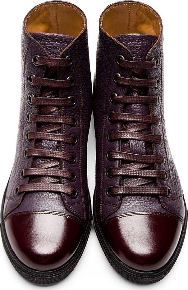 Footwear · Marc Jacobs Plum Grained Leather High-Top Sneakers! ...