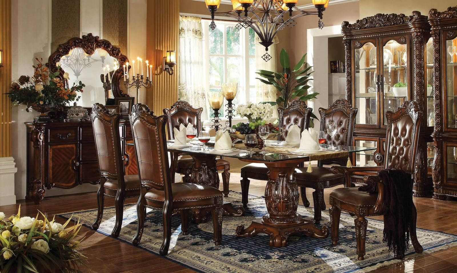 Acme Vendome 7Pc Double Pedestal Dining Room Set With Glass Table Simple Acme Dining Room Set Inspiration