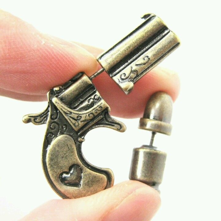 Clear or Black Color Crystal Accent Pistol Revolver Gun Shaped Stud Earrings