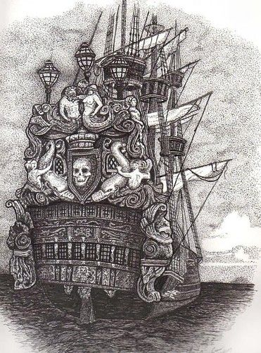 Pirate Ship Black And White Drawing