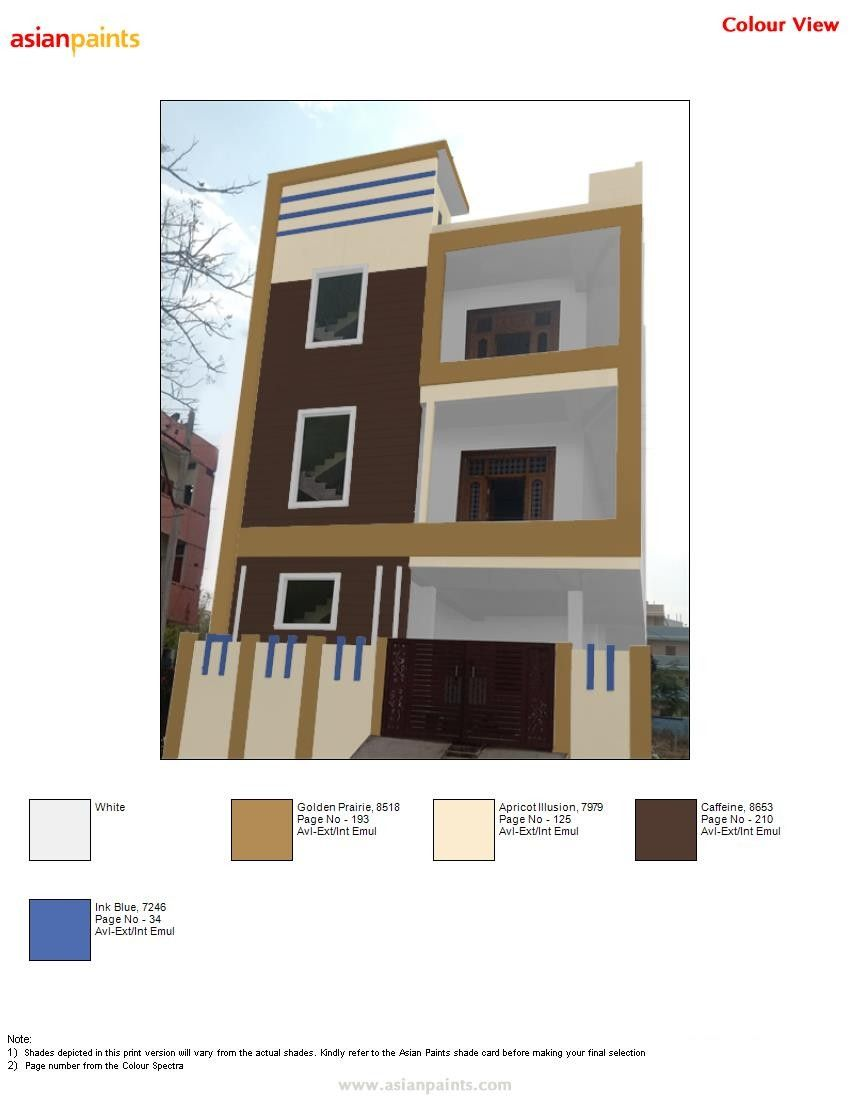 Pin By Bhutham Sudarshan On Top 200 Asian Paints Color Views Exterior Color Combinations North Facing House Asian Paints Colours