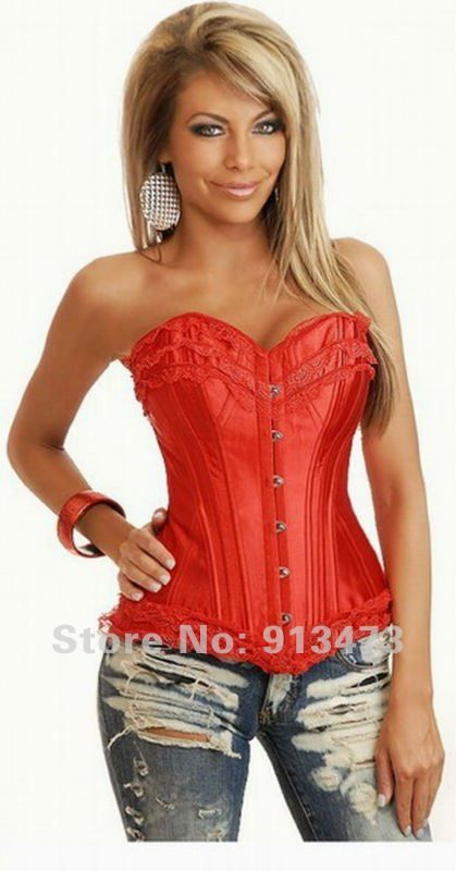 fd9c485ca5 cheap sexy red satin zipper bustiers corset top lace up on AliExpress.com. 5%  off  15.19