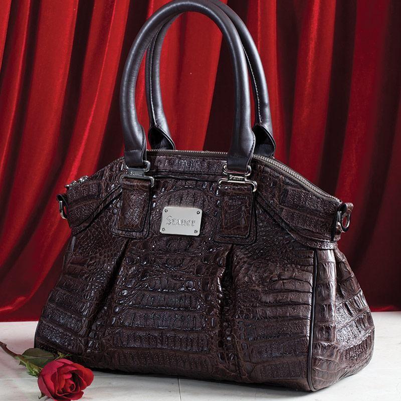 Genuine Crocodile Handbag Brown 23381 Stauer