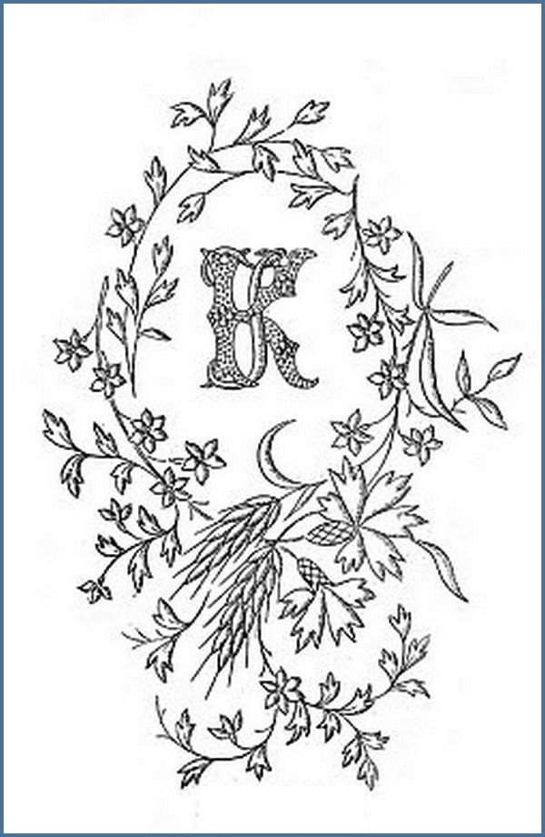 1900 embroidery motif-K and J letters