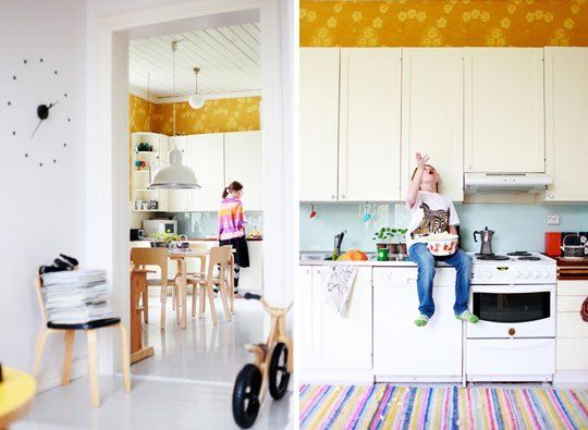 Pretty Kitchen Idea Hang Wallpaper In The Wasted Space Above
