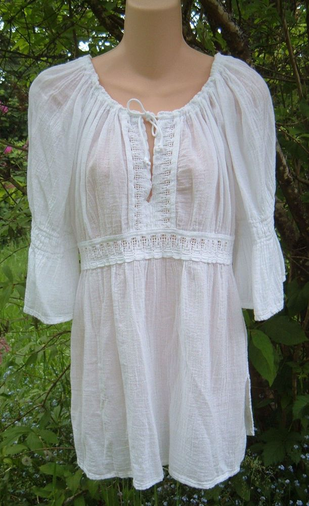 ef429d2fabadd VTG 70s Sheer White Cotton Gauze Greek Peasant Boho Folk Poet Blouse Top  Crochet  Unbranded