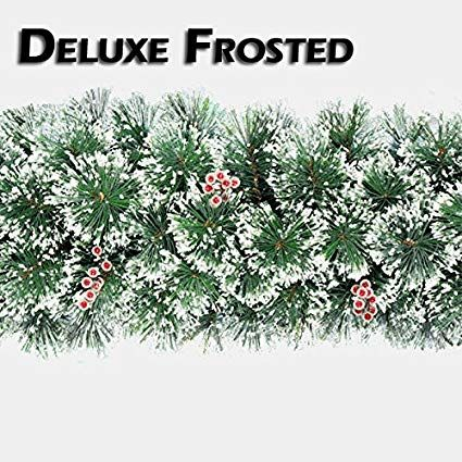 Full and luxurious artificial frosted Christmas garland with Frosted