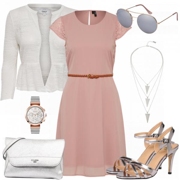 Toller Look Zum Schicken Abendessen Rosa Kleid Weisse Strickjacke Und Silberne Sandaletten Mode Damenmode Frauenmode Outfit Damen Roupas Look Vestidos