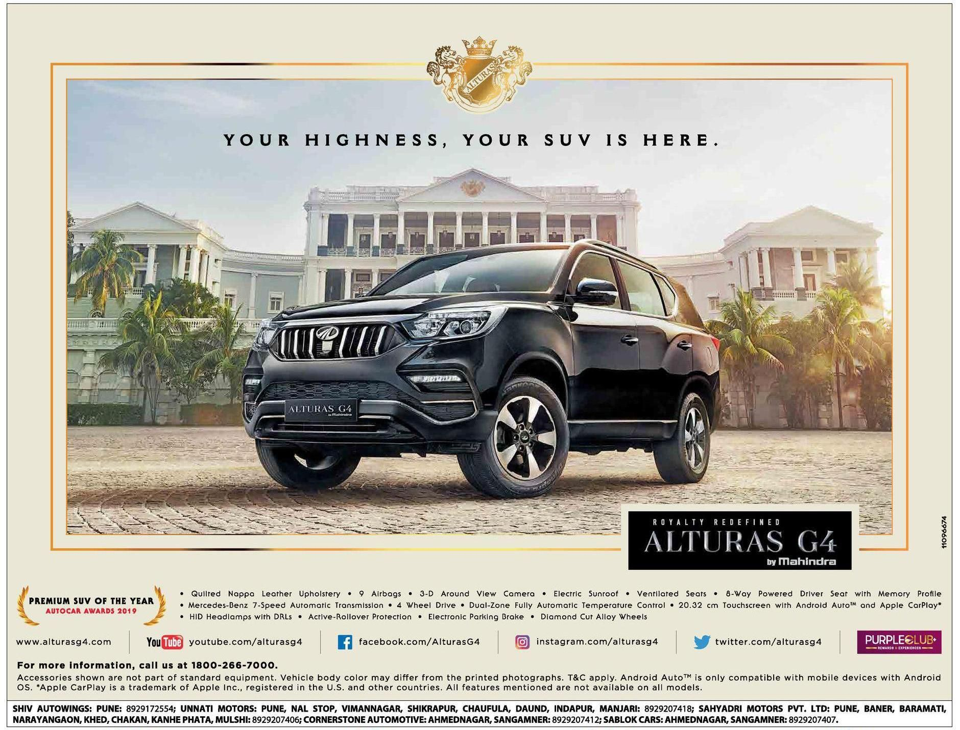 Alturas G4 By Mahindra Your Highness Your Suv Is Here Ad Sakal