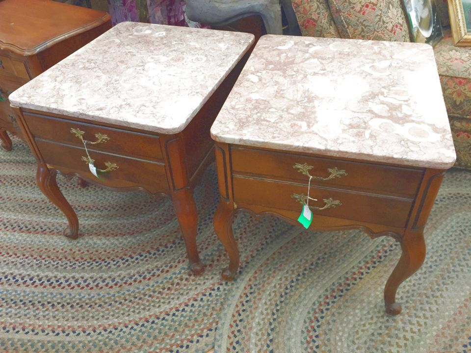 Delightful Vintage Pink Marble Top French Provincial End Table