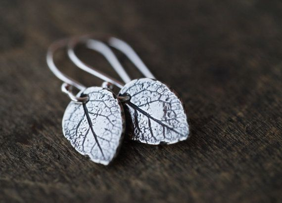 Leaf Earrings in Sterling Silver Tiny Leaves Nature Botanical