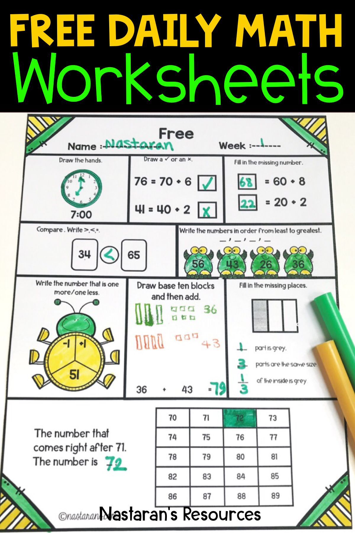 Daily Math Practice Grade 1 Free Nastaran S Resources Daily Math Daily Math Practice Math Review [ 1800 x 1200 Pixel ]