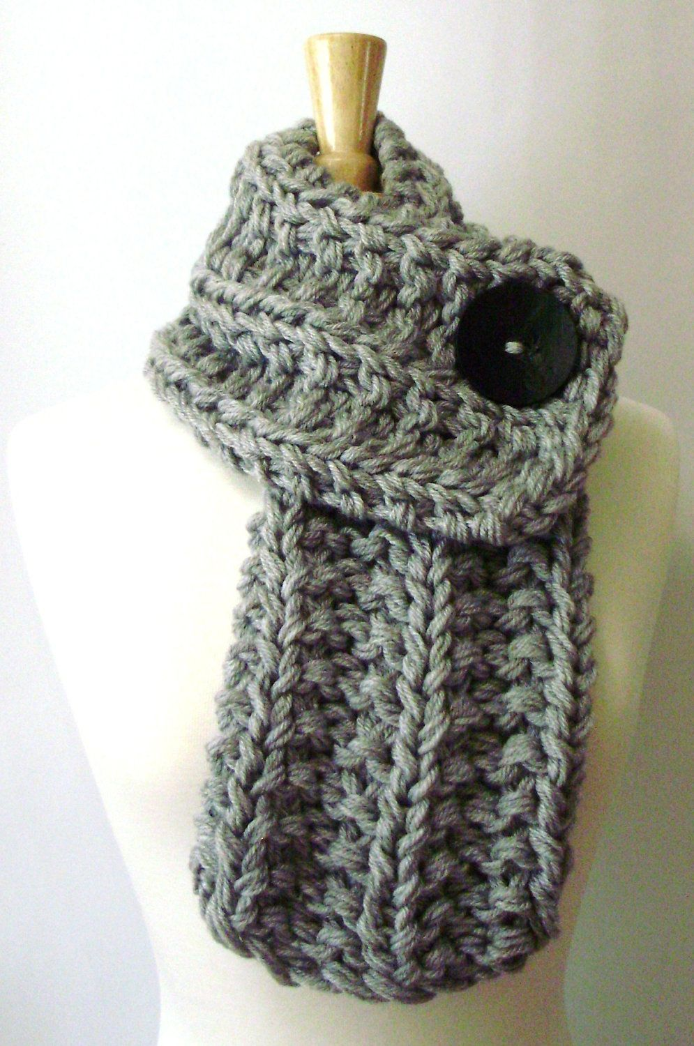 Light Grey Chunky Knit Cowl Scarf with Large Black Button. via Etsy ...