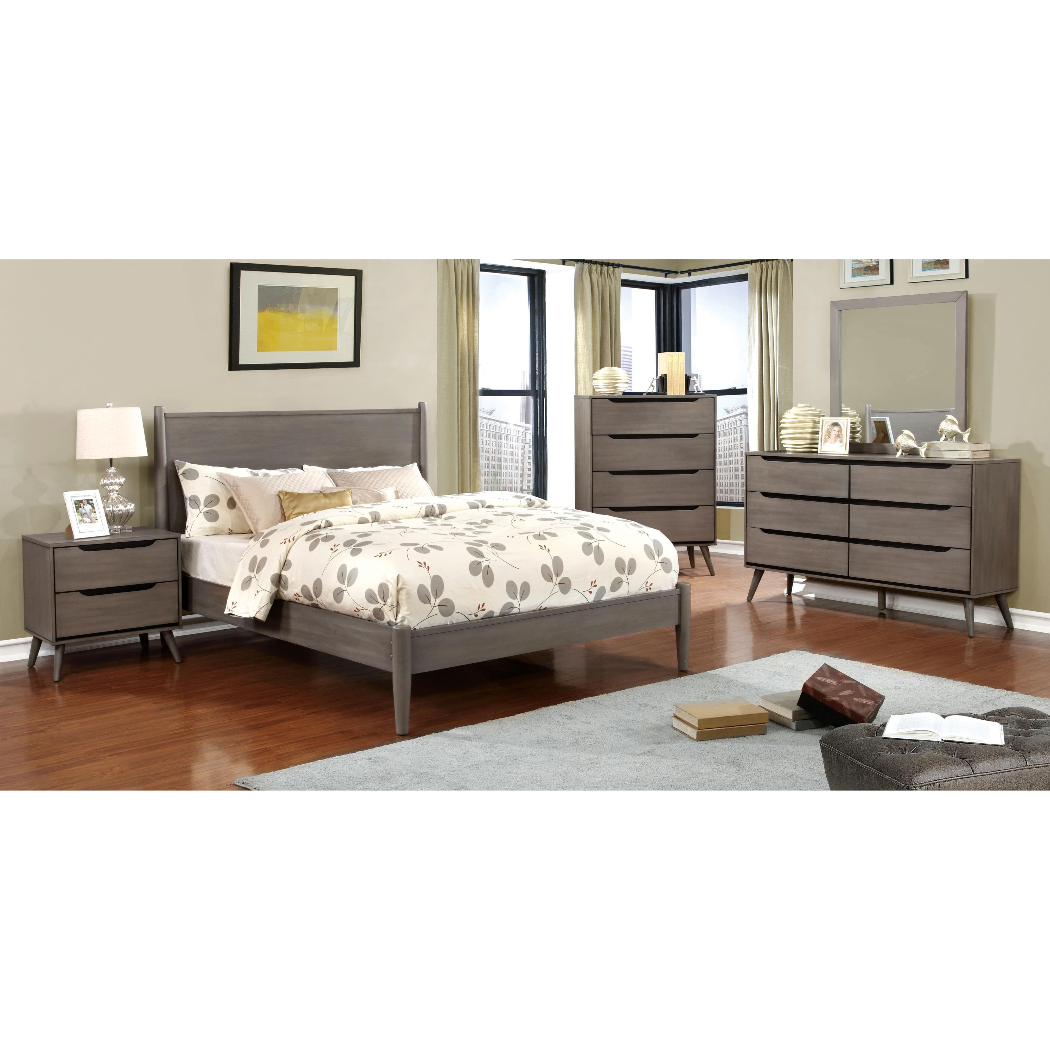 Furniture of america corrine grey piece bedroom set queen mid