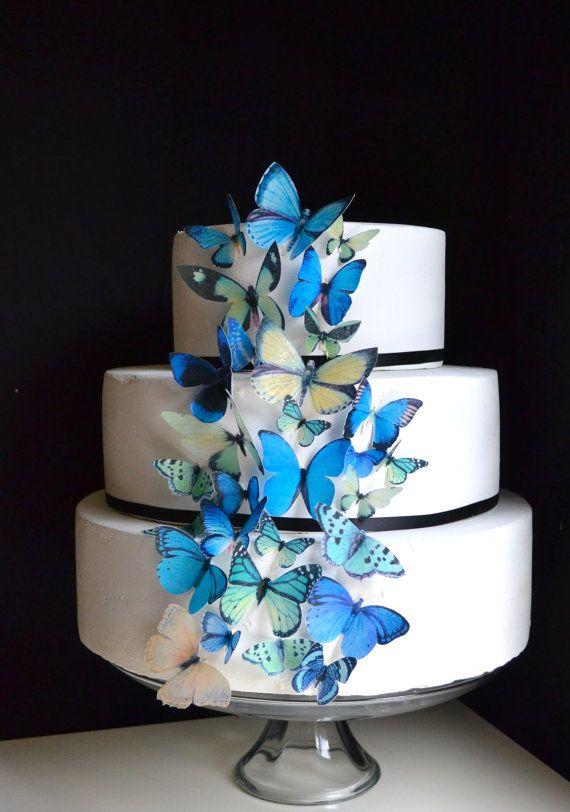 Wedding Cake Topper Blue and Green EDIBLE Butterflies ...