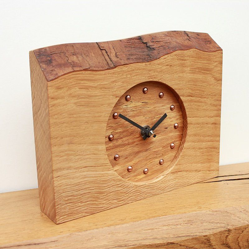 Rustic Oak Mantel Clock With Beech Face Wood Clock Design Wood Clocks Wooden Clock