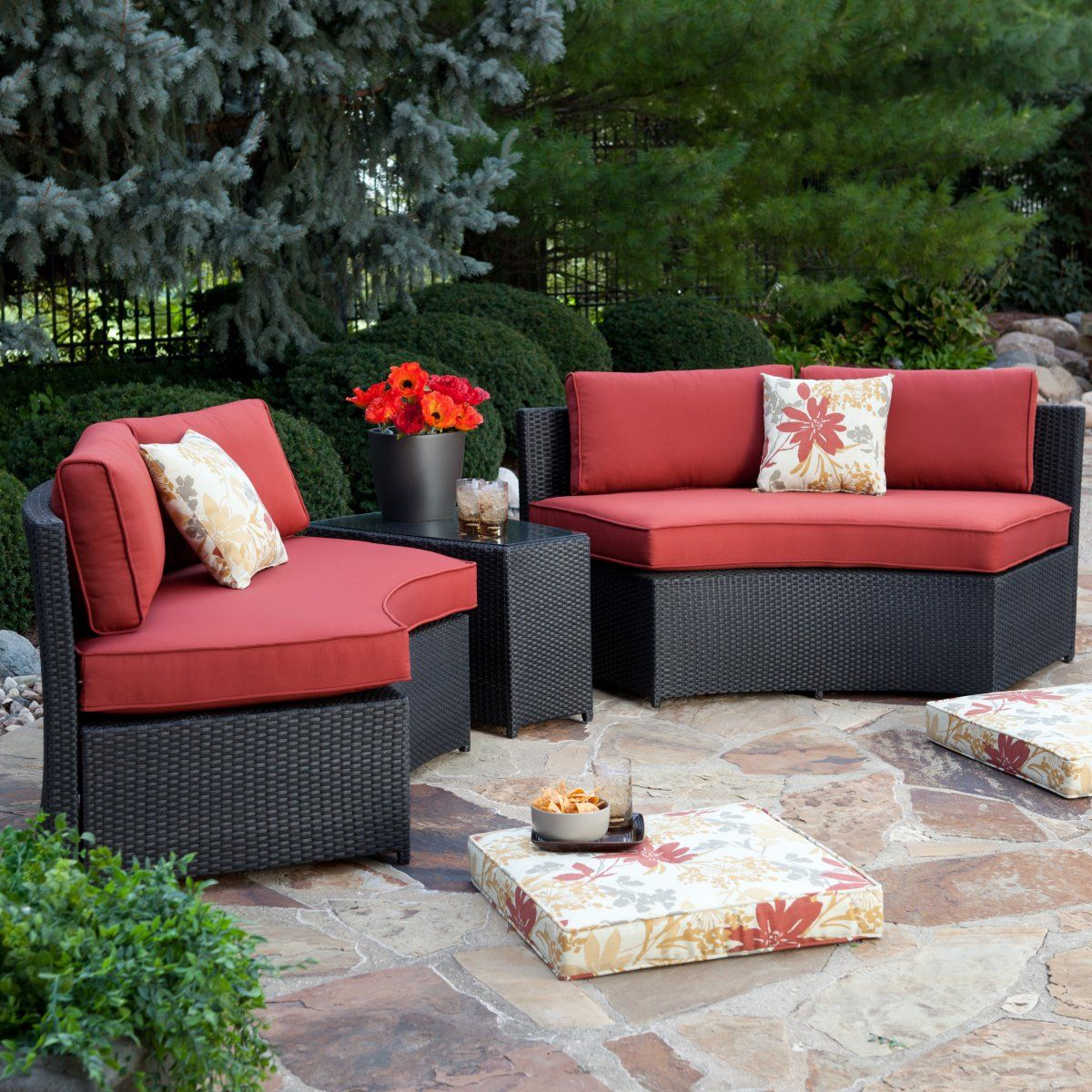 Meridian all weather wicker curved bench set 4 benches for All weather wicker patio furniture