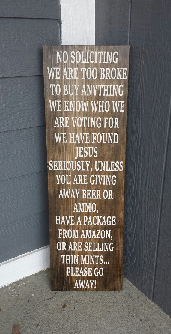 No soliciting sign funny front porch sign rustic no by for Outdoor decorative signs
