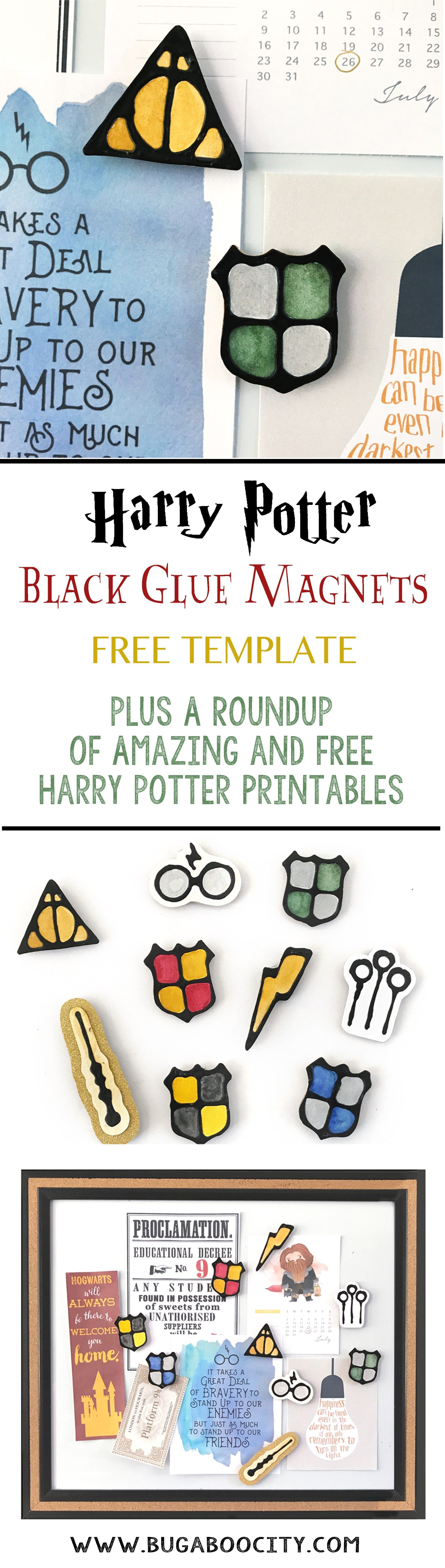 Harry Potter Black Glue Magnets and a Roundup of Free HP Printables