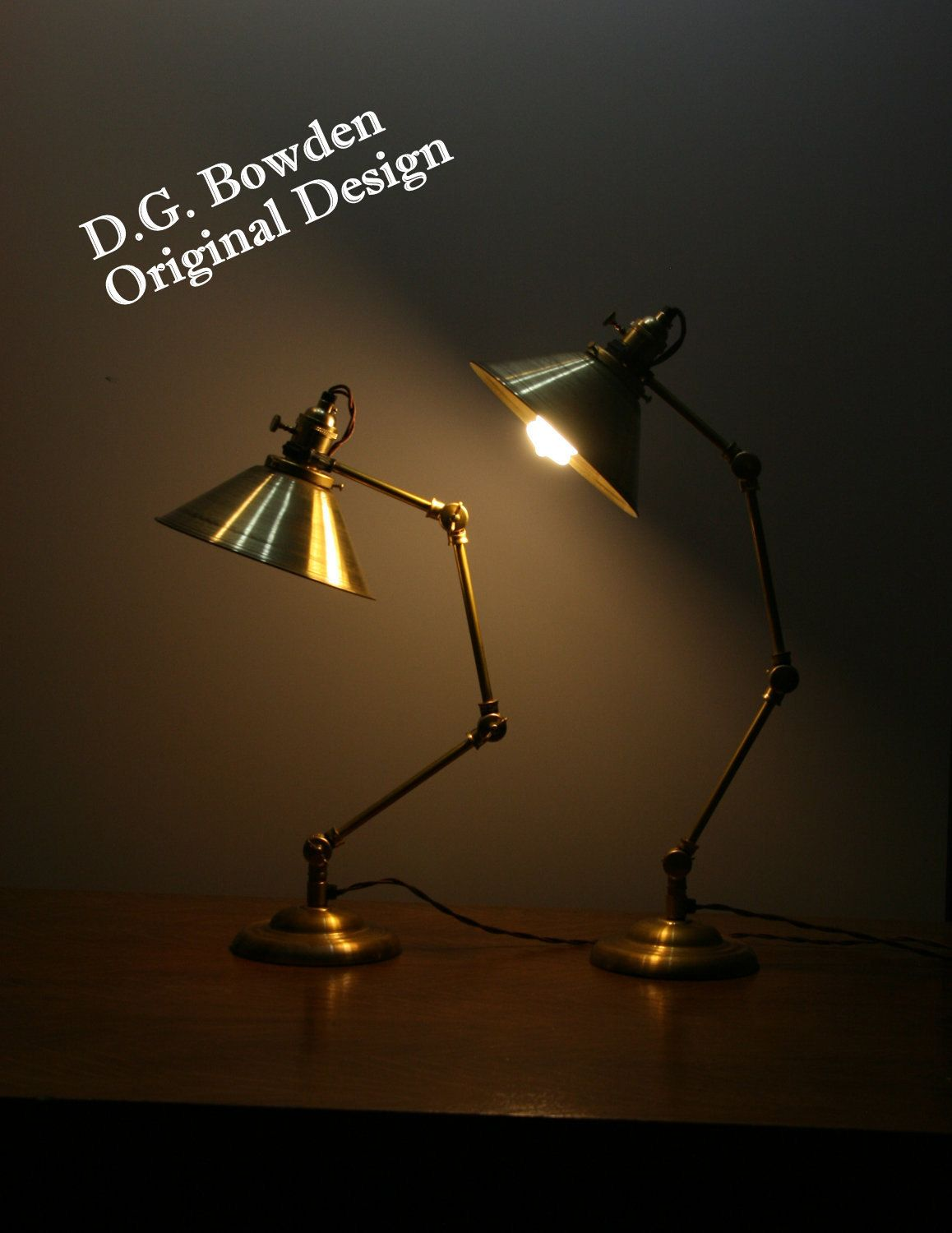 All Brass Industrial Articulating Desk Lamp with Vintage Style Brass Cone Shade - Articulating Table Light. £131.08, via Etsy.