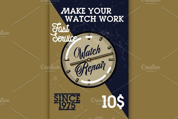 Color vintage watch repair banner by Netkoff on @creativemarket