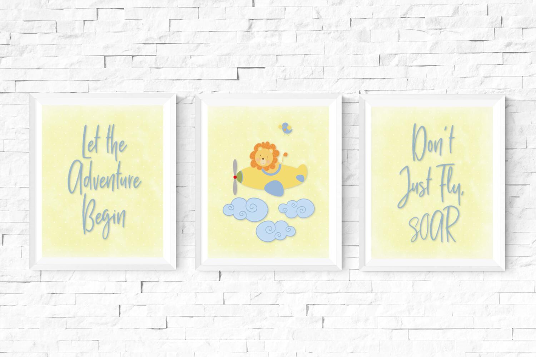 Lion Airplane Adventure Nursery Set of 3 Digital Prints ...