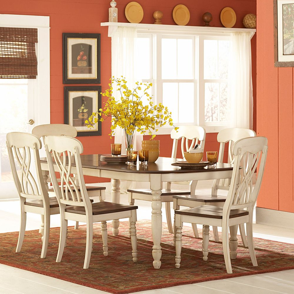 Country Style Dining Room Furniture: Mackenzie 7-piece Country Style Two-tone Cherry Antique