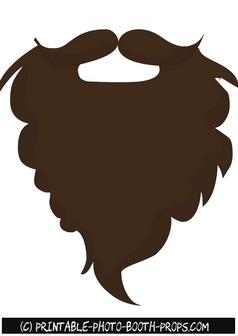 Brown beard. Free printable photo booth