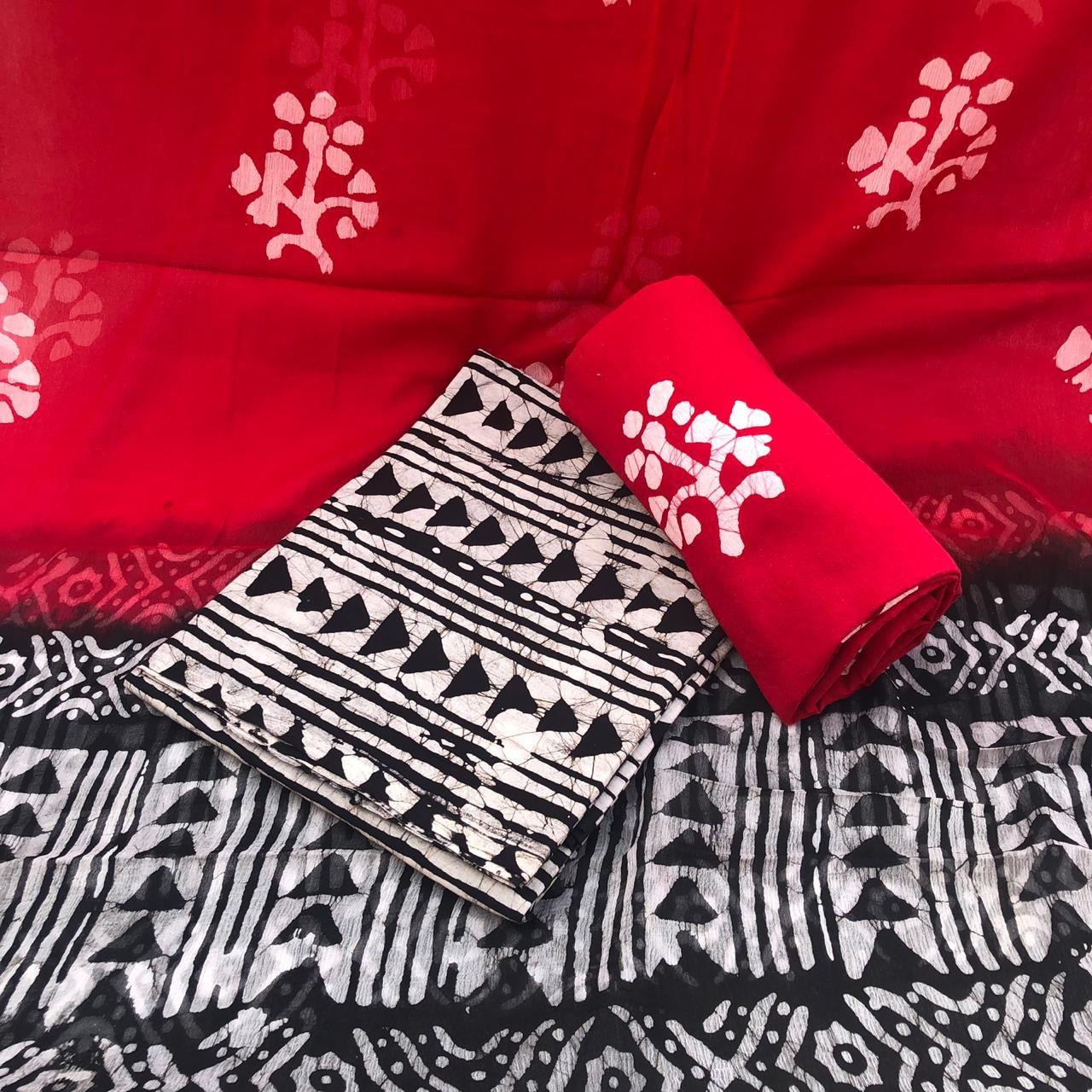 Exclusive Summer Cotton Collection Of Unstitched Cotton Salwar Suits With Chiffon Dupatta Hand Block Printed Block Print Saree Bagru Print