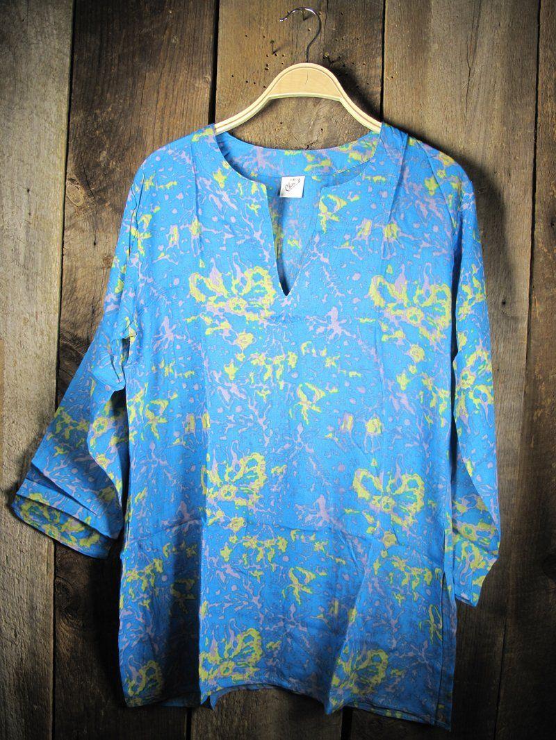 Linen Tunic Shirt Women/'s Handmade Clothing Side Slits Quarter Length Sleeves