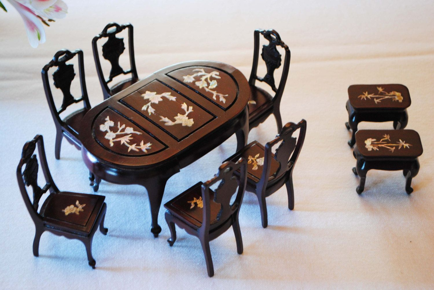 Vintage Rosewood Mother of Pearl Inlay Armchair Dollhouse 1:12 Miniature