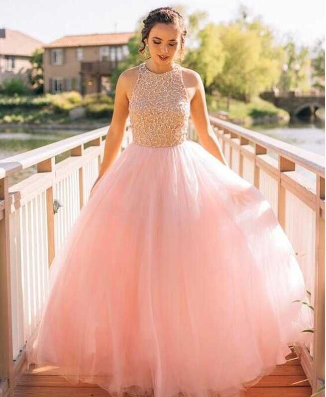 Blush Pink Tulle A line Evening Prom Dresses, Beaded Long Party Prom ...