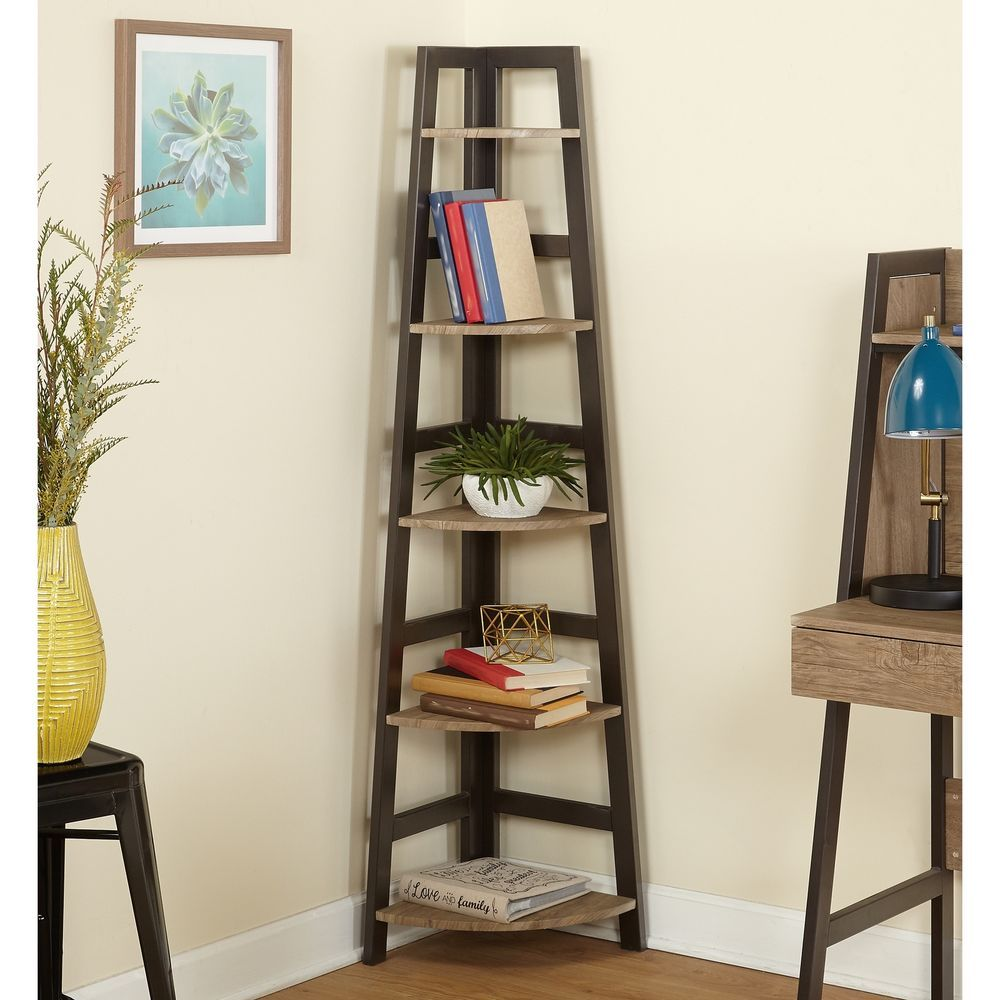 Corner Shelf Natural Reclaimed Wood Finish Living Room ...