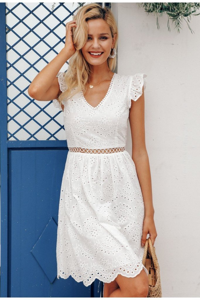 White Lace Open Back V Neck Midi Dress #shortbacklessdress