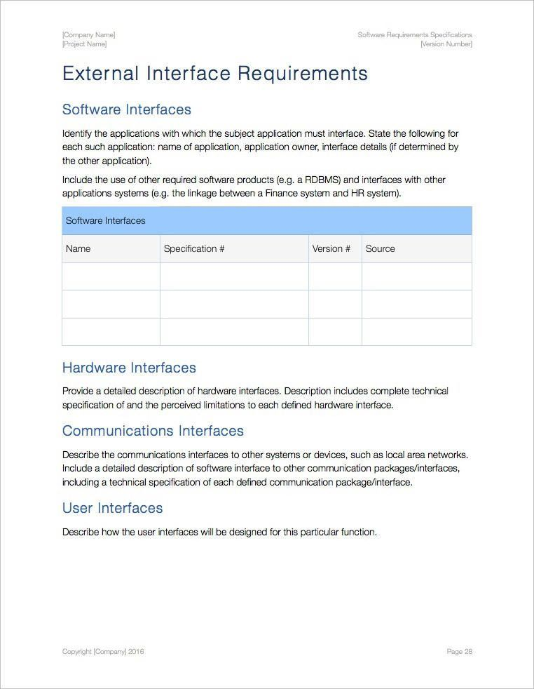 Software Requirements Document Template Inspiring Software Requirements Specificat Software Requirements Specification Document Templates Templates Free Design