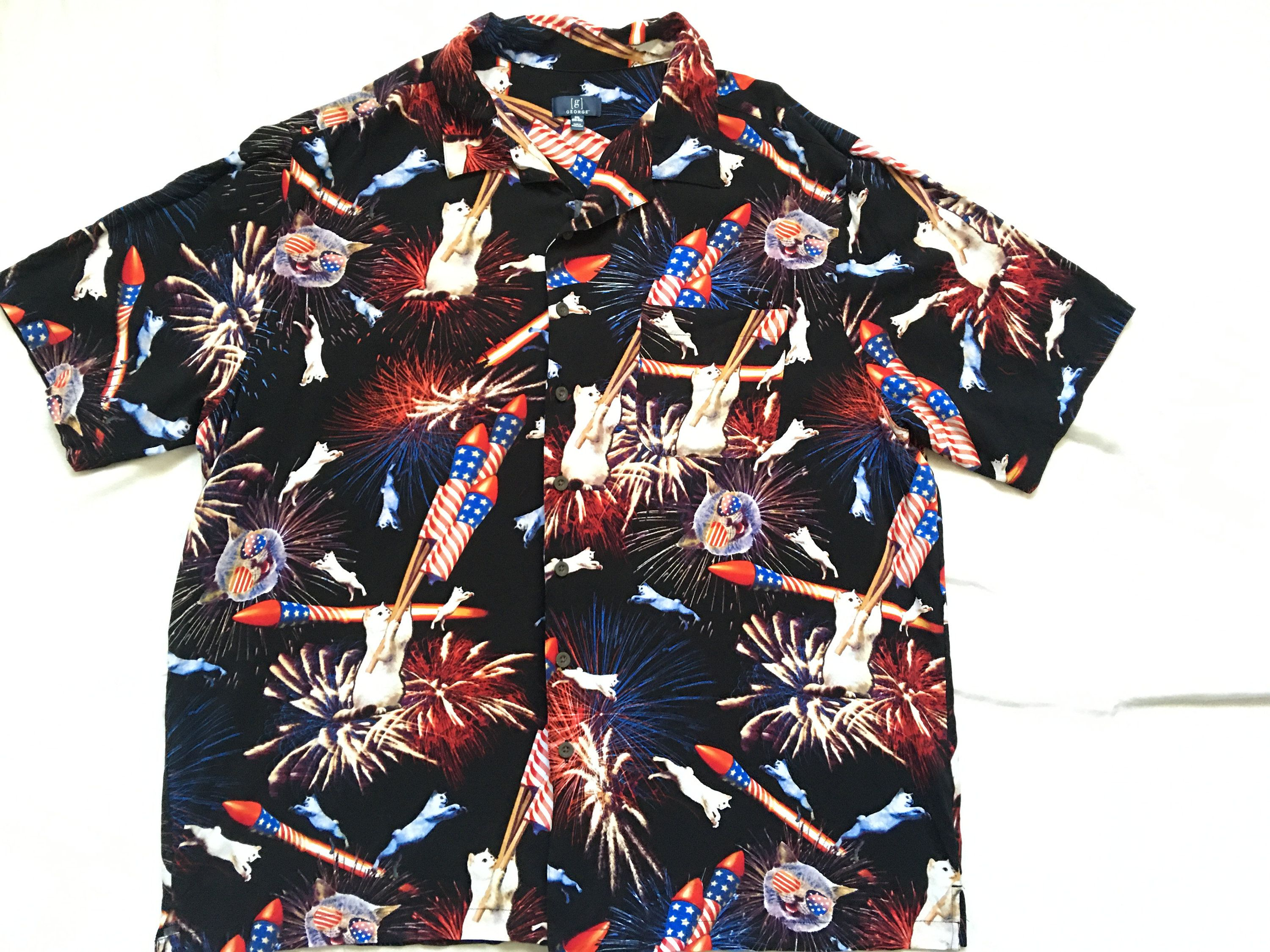 Excited To Share The Latest Addition To My Etsy Shop Cat Hawaiian Shirt Usa America Fireworks Kit In 2020 Cool Stuff For Sale Hawaiian Shirt Casual Button Down Shirt